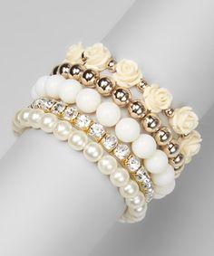 Pearl & White Rose Stretch Bracelet
