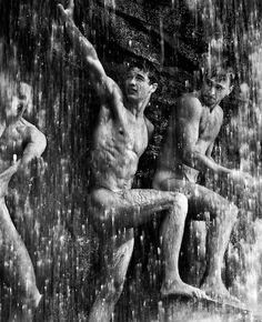 Men Bathing in a Waterfall