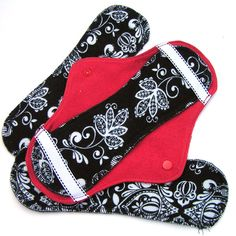 JazzyPads Cloth Menstrual Pad Set Maxi Black Toile on by tamarack, $10.75