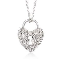 Ross-Simons - .25 ct. t.w. Diamond Heart Lock Necklace In Sterling Silver - #782437