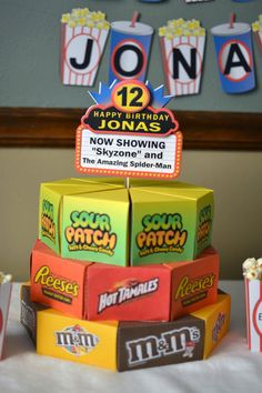 Movie Birthday Party Decorations, Movie Party Theme Candy Cake Favors Box with 3-D Cake Topper - CUSTOM Message - 24 boxes