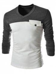 Modish V-Neck Two Color Splicing Fake Pocket Slimming Long Sleeve Polyester T-Shirt For Men