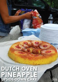 Dutch oven pineapple upside-down cake Oven Chicken Recipes, Dutch Oven Recipes, Cooking Recipes, Oven Cooking, Camping Desserts, Camping Meals, Camping Stuff, Backpacking Meals, Kayak Camping