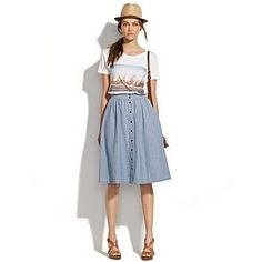 Sport the casual look such as this- midi in comfy, airy material with a tee ; add belt if needed