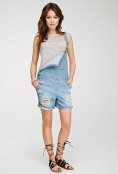 Distressed Short Overalls | Forever 21 Canada