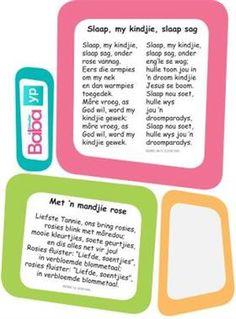 Hier's die woorde van al die ou bekende Afrikaanse rympies en liedjies, in pragtig ontwerpte drukstukke deur Baba & Kleuter! Preschool Printables, Preschool Worksheets, Early Education, Kids Education, Afrikaans Language, School Songs, Kids Poems, Baby Shower Presents, Baby Songs
