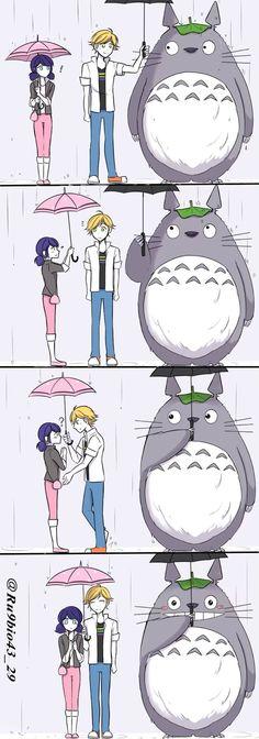 Totoro ships it. Comics Ladybug, Meraculous Ladybug, Disney Princess Facts, Adrien Y Marinette, Sailor Moon Character, Fandom Crossover, Miraculous Ladybug Fan Art, Cartoon Crossovers, Cat Noir