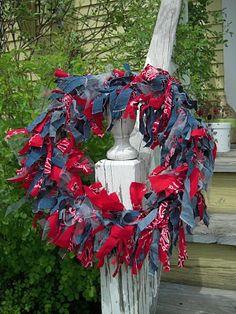 Marvelously Messy: Patriotic Rag Wreath and Ra Ra Craft