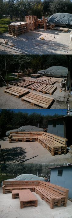Built a pallet wood outdoor sofa on my own. Hope you like it.