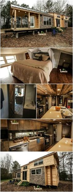 """Smart Cabin by Lil Lodges is a 400 Square Foot Dream Vacation Home - Some of the tiny houses that we see are the pure embodiment of """"cozy"""" and this is one of them! Built by Lil Lodges of Bear Creek, Alabama and features on Tiny House Nation, this home has gotten tons of attention for its luxurious touches and warmth. The builders say that this was the most advanced tiny house they had ever built before. It was so advanced that it's called a """"smart cabin""""."""