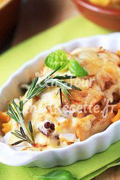 Photo de la recette Gratin de pâtes aux champignons