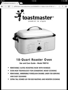 13 best roaster oven recipes images on pinterest roaster oven rh pinterest com Toastmaster Roaster Oven Model Trst18 Toastmaster 18 Quart Roaster Oven