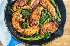 One Pan Honey Mustard Balsamic Chicken and Broccolini