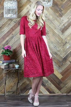 """Haley"" Modest Lace Dress in Berry Red Perfect for bridesmaids, Christmas, Valentine's Day, even just for church! <3"