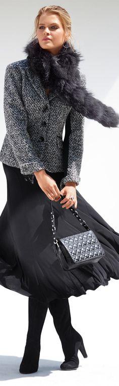 Lady CEO- Light, floaty skirt w/ tweed jacket by Madeleine  - #LadyLuxuryDesigns