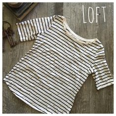 LOFT striped t shirt! LOFT striped boat neck polka dot t-shirt. In excellent condition only worn twice. Measurements: 19 inches across bust. 15 inches from under arm to bottom hem.  Cream, black and gold! Bundle in my closet and save. I am a suggested user and top-rated seller. No PayPal's or trades. I ship same day or next day almost always! Thank you for checking out my closet. #040 LOFT Tops Tees - Short Sleeve