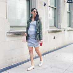 Stripe dresses are my life these days. Celebrating @lololopez17 bday at @breadandwineil tonight 🍞🍷🎂 Linked some of my favorite non maternity & maternity -> @liketoknow.it http://liketk.it/2rri9   #liketkit #LTKbump #LTKfamily #oo