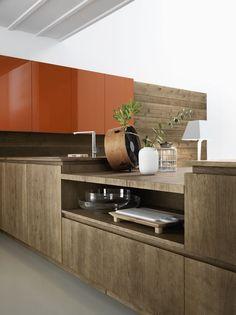 Oak fitted #kitchen without handles CLOE - COMPOSITION 3 by Cesar Arredamenti design Gian Vittorio Plazzogna