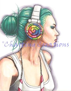 Candy Art Print Fantasy Art Headphone Girl Candy Girl Urban Portrait Funky Wall Art by deannadavoli on Etsy Copic Marker Drawings, Art Drawings, African Colors, Rocker Girl, Rocker Chic, Girl With Headphones, Girl Posters, Candy Art, Copic Art