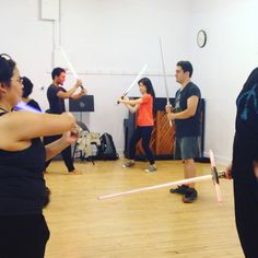 Strike one #Sith down, and another will appear! Fun practicing our #lightsaber mini #gauntlet #starwars #stagecombat #jedi #gooddeath