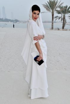Princess Deena Aljuhani Abdulaziz - Front Row at Chanel Resort, Dubai 2015 Arab Fashion, White Fashion, Womens Fashion, Princess Of Saudi Arabia, Princess Deena Aljuhani Abdulaziz, Dubai Fashionista, Arabian Princess, Chanel Resort, Chanel Cruise