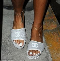 Rihanna rocked Chanel slippers for a night out in LA