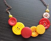 Button Pendant Necklace, Vintage Red, Orange, and Yellow Buttons