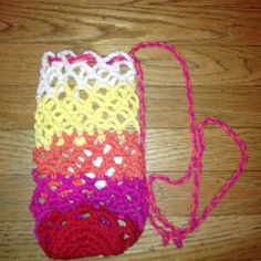 Waldorf ~ 3rd grade ~ Handcrafts  Crocheted water bottle - cotton yarn.