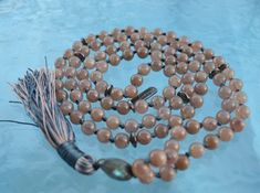 Japa Mala Mala Bead Necklace Meditation Beads Buddhist Prayer Beads Labradorite Mala 108 knotted beads Jap Mala Beads 108 Mala Necklace