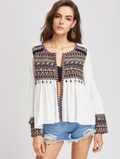 Shop Embroidered Yoke And Cuff Coin Fringe Trim Blouse online. SHEIN offers Embroidered Yoke And Cuff Coin Fringe Trim Blouse & more to fit your fashionable needs. Bohemian Blouses, Boho Tops, Boho Fashion, Fashion Outfits, Fashion Rings, Bohemian Mode, Embroidered Blouse, Blouse Designs, Blouses For Women