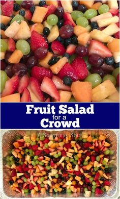 Salad for A Crowd Fresh fruit salad with a bright sweet, citrus dressing is always a favorite when feeding a crowd!Fresh fruit salad with a bright sweet, citrus dressing is always a favorite when feeding a crowd! Breakfast Fruit Salad, Fruit Salad With Yogurt, Dressing For Fruit Salad, Fresh Fruit Salad, Fruit Salad Recipes, Dressing Recipe, Breakfast Ideas, Easy Fruit Salad, Breakfast Parties