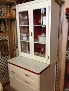 Prices For Hoosier Cabinets | Red And White Smaller Hoosier Style Cabinet  Climbing In Price