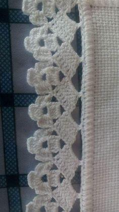 Ideas Crochet Heart Motif Projects F - Diy Crafts Crochet Edging Patterns, Crochet Lace Edging, Crochet Borders, Filet Crochet, Crochet Doilies, Crochet Stitches, Crochet Hooks, Knitting Patterns, Lace Knitting