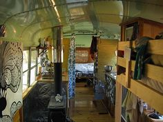 We repurposed a 1986 International School Bus, and created within it a very warm, comfortable, highly functional, off-grid, self-contained cabin called the Novelty UnSchool Bus.