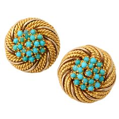 Turquoise Gold Earrings | From a unique collection of vintage lever-back earrings at http://www.1stdibs.com/jewelry/earrings/lever-back-earrings/