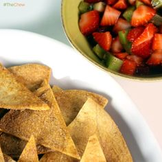 Cinnamon Tortilla Chips with Strawberry Salsa by Carla Hall! #TheChew #Appetizer #Dessert