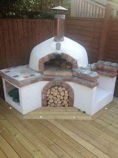 Pizzaofen bauen Ziegel oval weiss Schornstein