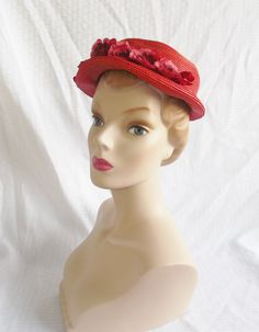 1950's Vintage Red Straw Hat with Red Flowers by MyVintageHatShop