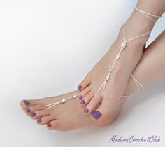 Simple and sexy barefoot sandals with Swarovski crystals.This delicate design perfectly slims your feet, so you will always look beautiful.They are simple, but really eye catching because they sparkle incredibly in the sun.They are hand crocheted of very thin 100% mercerized cotton in snow white with Swarovski crystals braided in it.One size fits all**** This is my original design. Please be fair and do not copy. ****/$20.00