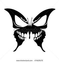 Butterfly Skull Tattoo - buy this stock vector on Shutterstock & find other images. - - skull tattoo Butterfly Skull Tattoo - buy this stock vector on Shutterstock & find other images Kunst Tattoos, Skull Tattoos, Body Art Tattoos, Tatoos, Skull Stencil, Tattoo Stencils, Skull Art, Tattoo Sketches, Tattoo Drawings