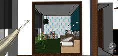 A sala de reuniões é informal e acolhedora, funciona muito bem também como sala de estar. O piso é um tapete de grama sintética. A arquibancada em compensado OSB pode ser usada tanto como sofá, quanto como um pequeno palco. As cadeiras em verde vibrante harmonizam bem com o azul das paredes e trazem um ar mais cool ao espaço. Os nichos podem ser customizados e reorganizados, servem como estantes ou banquinhos.