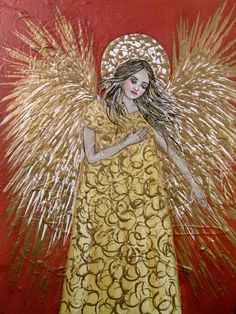 Folk Art Golden Angel 8 x 10 Art PRINT by Lore by lore12 on Etsy, $15.00