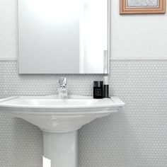 SomerTile 11.5x11.5-in Victorian Penny 3/4-in White Porcelain Mosaic Tile (Pack of 10) $5 sq ft