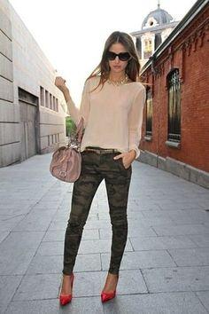 camo pants w/ light color sweater, tucked w/ belt