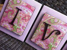 Letter ideas for a girls room. for-iva