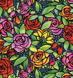 Multi Stained Glass Quilting Fabric by QuiltLoversFabrics on Etsy, $11.50