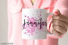 Watercolor Mug, Mugs Personalized, Custom Name Mugs, Pretty Mug, Mugs for Her, Mugs for Girls, Office Mug, Art Mug, Art Teacher Gift (P2211)