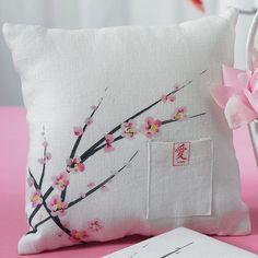 Cherry Blossom Ring Bearer Pillow - Cherry Blossom Wedding Collection - Asian Wedding - Wedding Themes - My Wedding Ring Bearer Pillows, Ring Pillows, Throw Pillows, Cherry Blossom Wedding, Cherry Blossoms, Ring Pillow Wedding, Wedding Ring, Wedding Ceremony, Wedding Bands