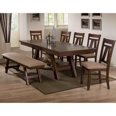 Found it at Wayfair - 7 Piece Dining Set Large Home Office Furniture, Office Furniture Stores, Dining Furniture, 7 Piece Dining Set, Dining Room Sets, Dining Table In Kitchen, Dining Tables, Dining Bench, Shop Furniture Online