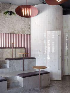 40 Ideas For Design Cafe Interior Architecture Interior Exterior, Home Interior, Modern Interior Design, Interior Design Inspiration, Interior Architecture, Bar Design, Coffee Shop Design, Pink Restaurant, Modern Restaurant